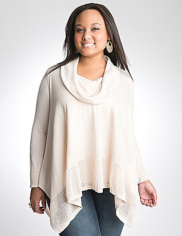 Plus size cowl neck poncho sweater by DKNY JEANS