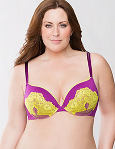 Plunge bra with neon lace by LANE BRYANT