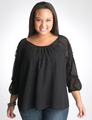 Shimmer dot sheer blouse by DKNY JEANS