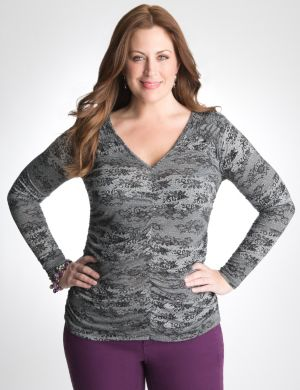 Shirred lace print top by DKNY JEANS
