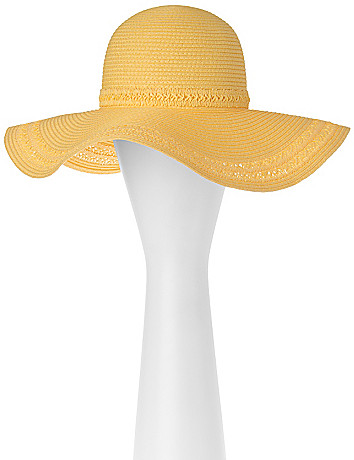 Floppy hat with macramé trim by Lane Bryant