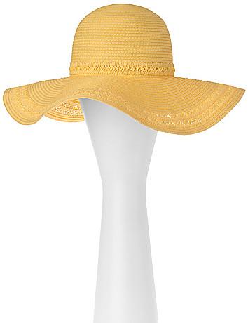 Floppy hat with macramé trim by Lane Bryant