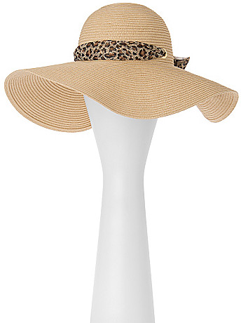 Floppy Hat with Animal Print Scarf