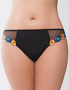 Floral embroidered thong panty by Cacique