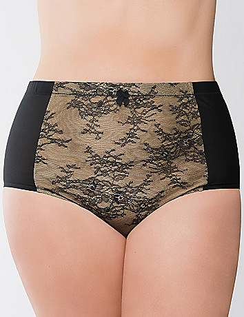 Bold lace high waist brief panty by Cacique