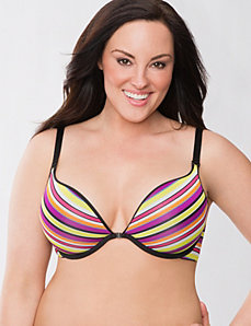 Stripe & solid reversible plunge bra