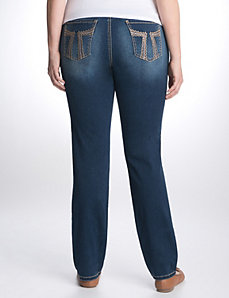 Embellished sateen skinny jean by Seven7