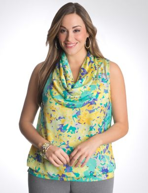 Floral drape neck shell