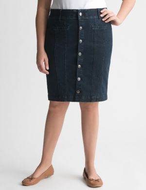 Buttoned denim skirt with Tighter Tummy Technology