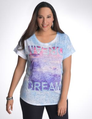 Dream embellished burnout tee