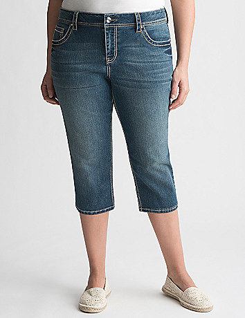 Full Figure Embellished Denim Capri by Lane Bryant