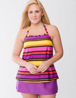 Beach Basics striped tankini swim top