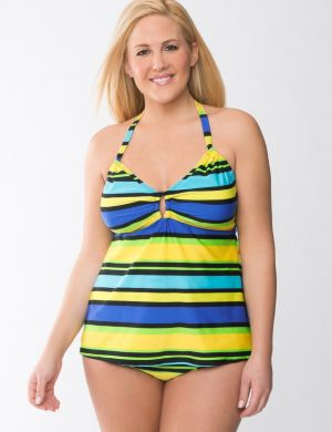 Beach Basics striped keyhole tankini top