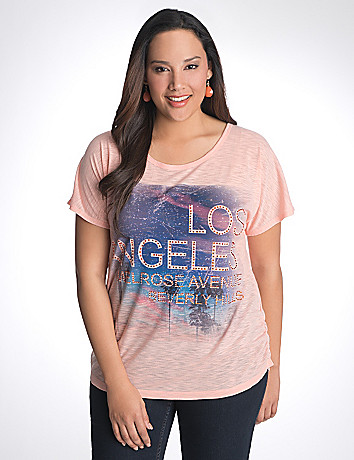 Plus Size Los Angeles Shirred Side Tee