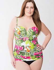 Tropical floral maillot with built in balconette