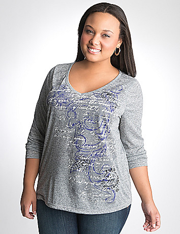 Plus Size Scroll Long Sleeve Tee by Lane Bryant