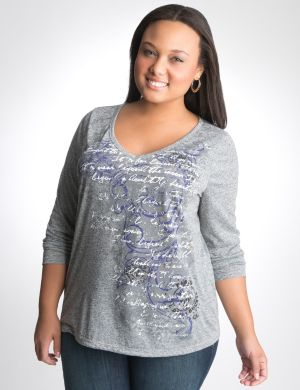 Scroll print long sleeve tee