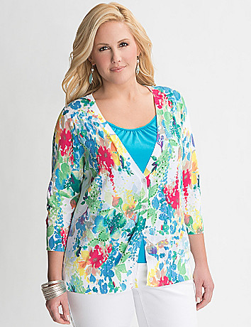 Plus Size Sequin Floral Cardigan by Lane Bryant
