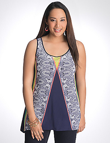 Sequin scarf print tank by Lane Bryant