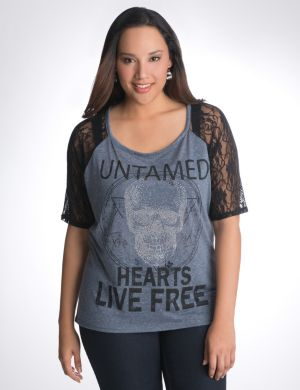 Studded skull lace shoulder tee
