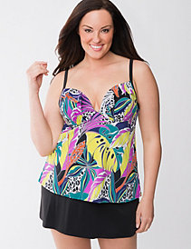 Floral swim tank with built-in plunge bra