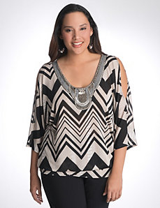 Embellished chevron top by Lane Bryant