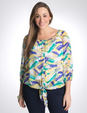Chiffon tie front blouse