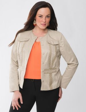 Lane Collection leather trim jacket