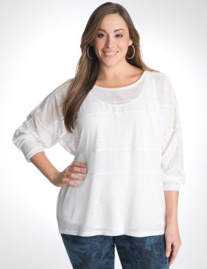 Mixed fabric dolman top by DKNY JEANS