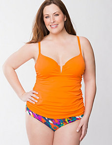 Solid swim tank with built-in balconette bra