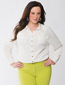 Full figure Lane Collection pocket blouse