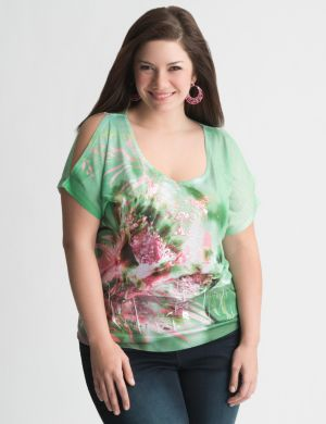 Cold shoulder floral tee by Seven7