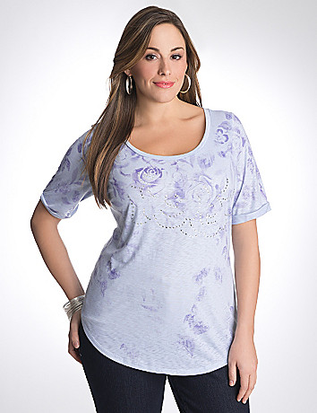 Plus size embellished rose tee