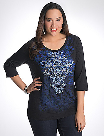 Plus Size Studded Scroll Tee by Lane Bryant
