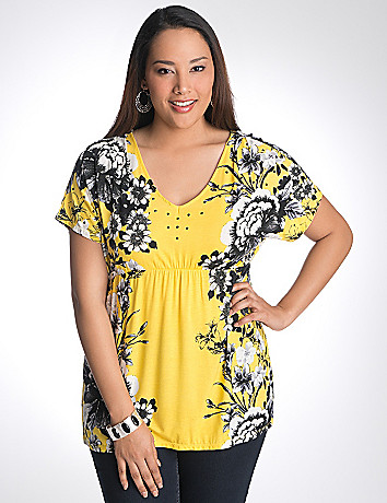 Studded floral top by Lane Bryant