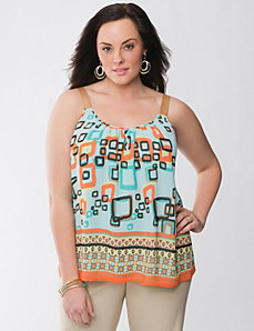 Full figure Lane Collection grosgrain print tank