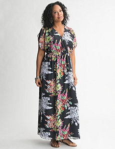 Short sleeve floral maxi dress