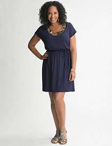 Sequin Flutter Sleeve Dress by Lane Bryant