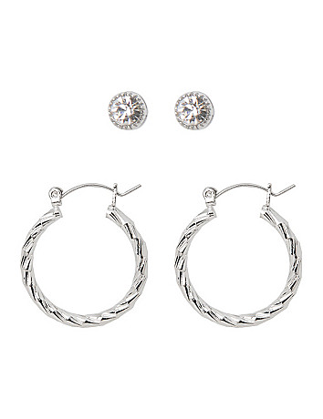 Bezel stud & hoop earrings duo by Lane Bryant