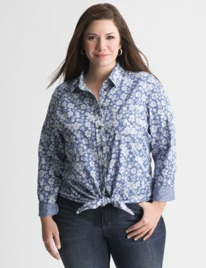 Floral tie front shirt by Seven7