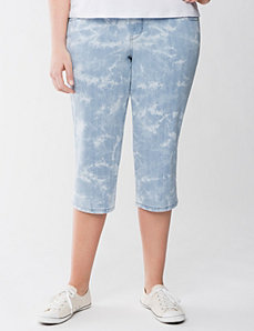 Tie dye denim capri by LANE BRYANT