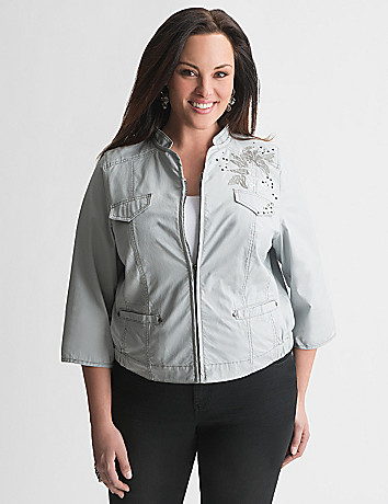 Embellished poplin jacket