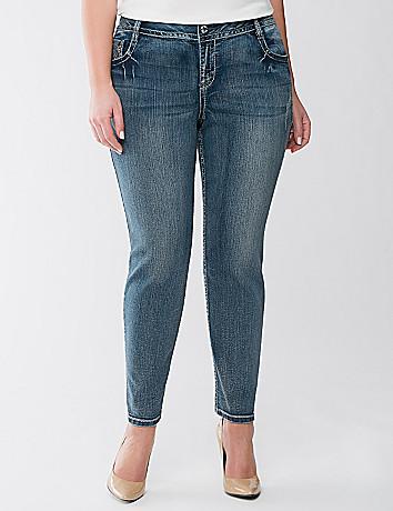 Embellished skinny ankle jean