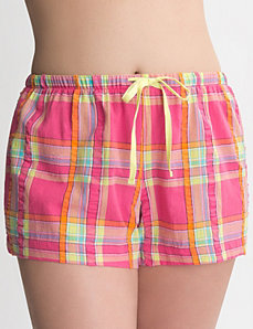 Plaid woven sleep short