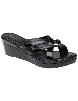 Patent comfort wedge sandal
