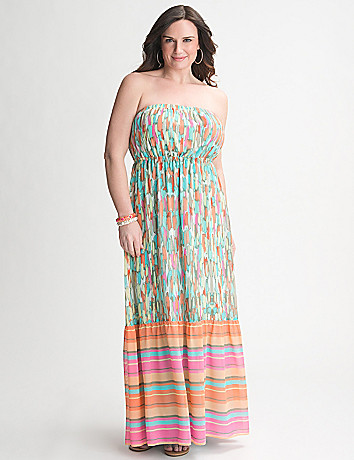 Mixed Print Strapless Maxi Dress by Lane Bryant