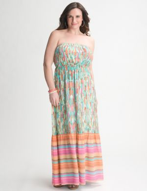 Mixed print strapless maxi dress