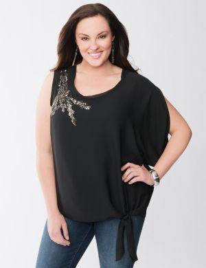 Embellished asymmetric blouse
