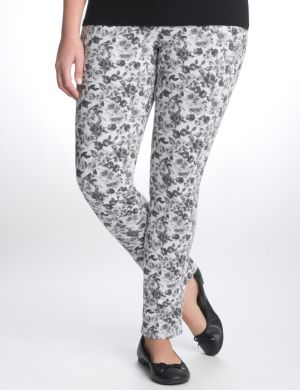 Floral French terry skinny