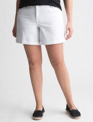 White denim short